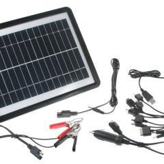 Solárna nabíjačka 6W pre udržovacie dobíjaníe baterií + dobíjanie mobilných telefónov