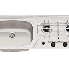 Umývadlo / sporák 800x320 2-plameňová nerezová piezoelektrická panvica vľavo 30mbar