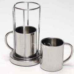 2 kávové šálky z nehrdzavejúcej ocele v sade