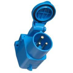 CEE montážna zástrčka s krytom, modrá
